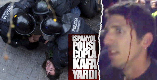 Katalonya'da polis dayağı