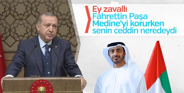 Cumhurbaşkanı Erdoğan'dan BAE Bakanı'na tepki