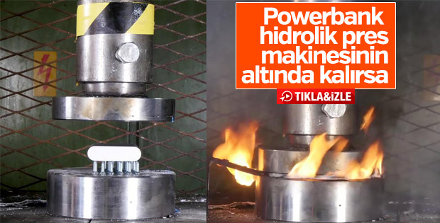 Powerbank hidrolik pres makinesiyle ezildi