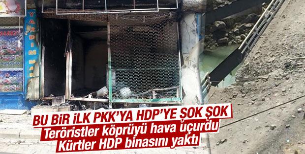 Şemdinli'nin Derecik Beldesi'ndeki HDP binası yakıldı