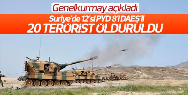 TSK: 12 PKK'lı 8 DAEŞ'lı terörist öldürüldü