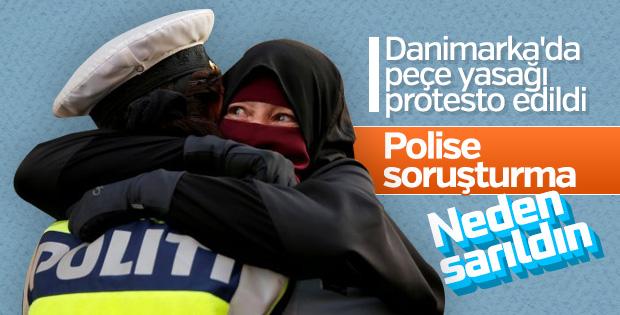 Danimarka'da peçeli kadına sarılan polise soruşturma
