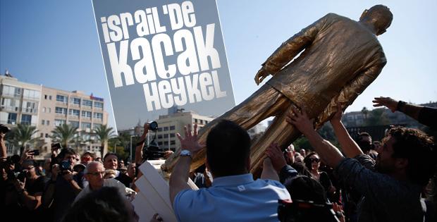 Tel Aviv'deki izinsiz Netanyahu heykeli kaldırıldı