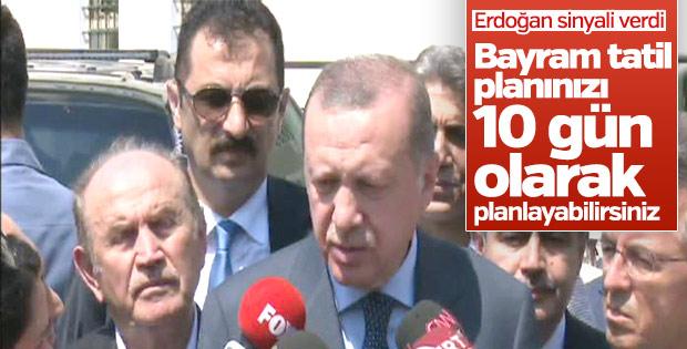 Cumhurbaşkanı Erdoğan'dan tatilin uzatılmasına yeşil ışık