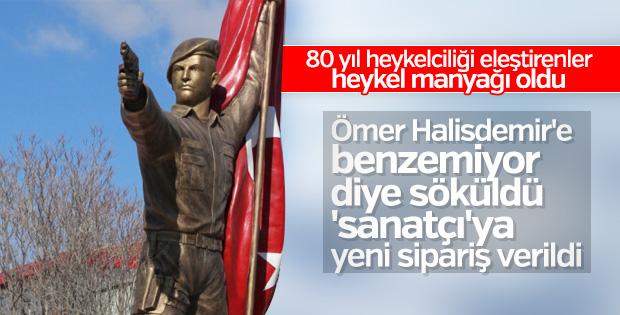 Ömer Halisdemir'in heykeli değiştiriliyor