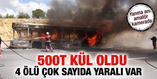 Halk otobüsü TEM'de alev alev yandı