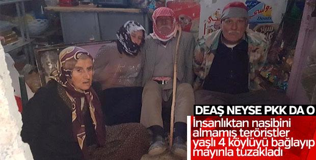 Teröristler yaşlı köylüleri bağlayıp mayınla tuzakladı