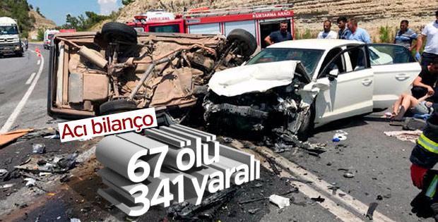Bayramın bilançosu; 84 kaza, 67 can kaybı