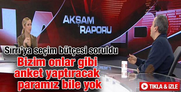Sırrı Süreyya Önder seçim bütçelerini açıkladı