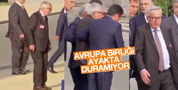 Juncker NATO galasında ayakta duramadı