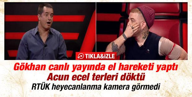 O Ses Türkiye'de Gökhan canlı yayında el hareketi yaptı