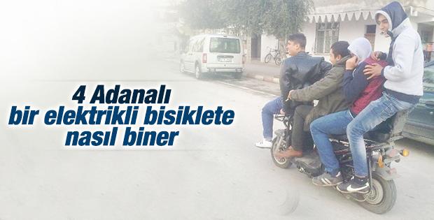 Adana'da elektrikli bisiklete 4 kişi bindiler