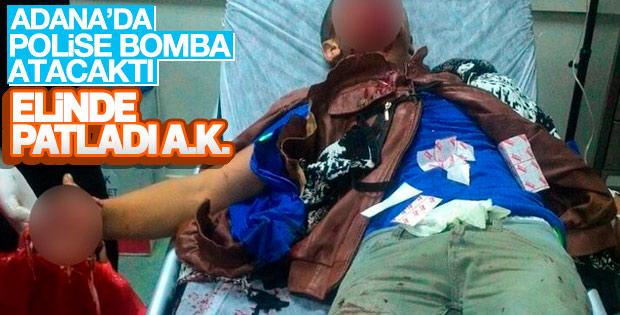 Polise atmak istediği bomba elinde patladı