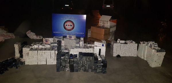 Kargo eşyalarının arasından binlerce kaçak sigara çıktı