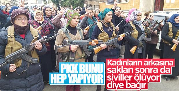 Afrin'deki sivil görünümlü kadın teröristler