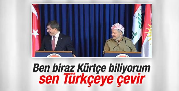 Barzani ve Davutoğlu'nun toplantısında tercüman güldürdü İZLE