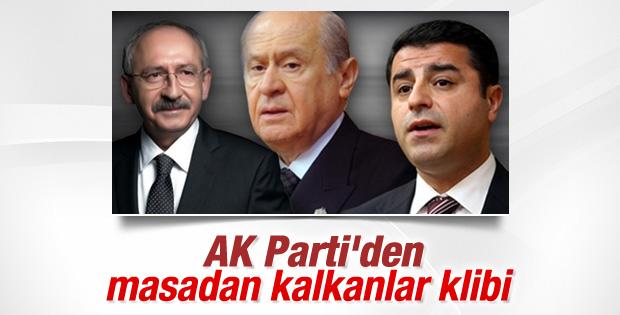 AK Parti'den masadan kalkan muhalefete klipli cevap