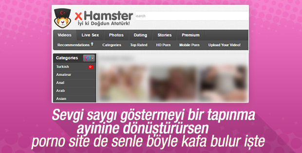 Porno sitesinden Atatürk'lü 19 Mayıs kutlaması