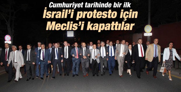 AK Parti Grubu İsrail Konsolosluğu'nda eylem yaptı