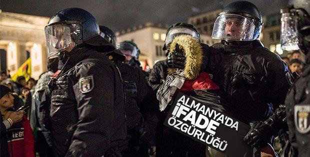 İsrail protestosuna Alman polisi müdahale etti