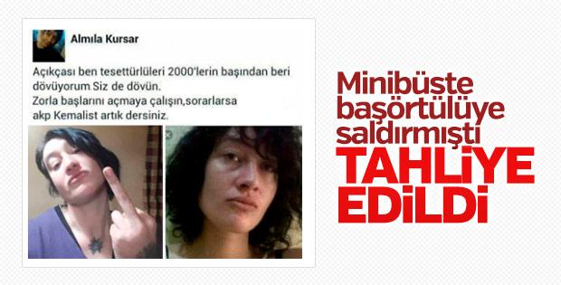 Başörtülü kıza saldıran Almila Kursar tahliye edildi