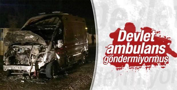 Teröristler Batman'da ambulans yaktı