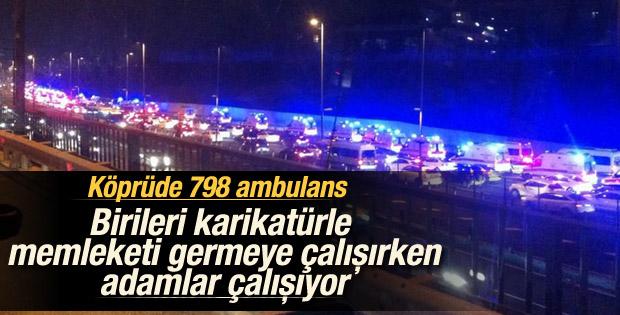 Boğaziçi Köprüsü'nden geçen ambulanslar Tekirdağ'a gidiyor