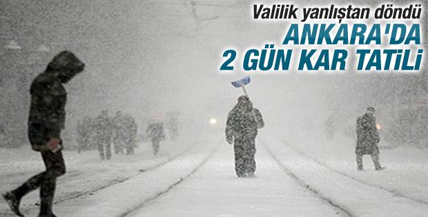 Ankara'da okullar 2 gün tatil