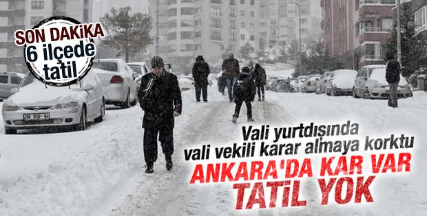 Ankara'da yoğun kar yağışı İZLE