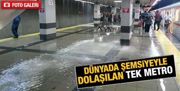 Ankara'da metroyu su bastı İZLE