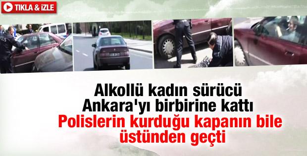 Ankara'da alkollü kadın sürücü trafiği birbirine kattı İZLE