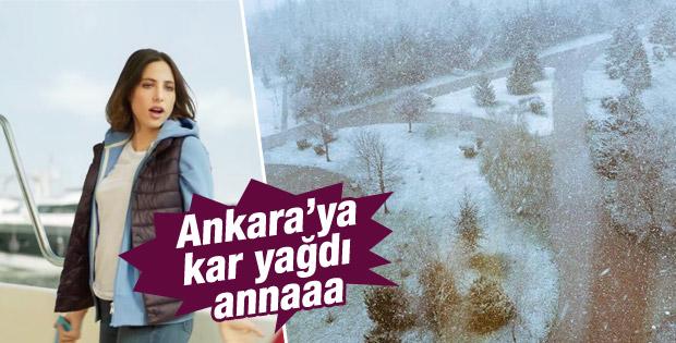 Ankara'da kar yağdı