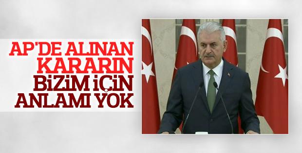 Başbakan Yıldırım AP'nin Türkiye kararı hakkında konuştu