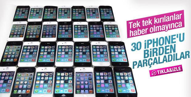 28 adet iPhone çekiçle parçalandı