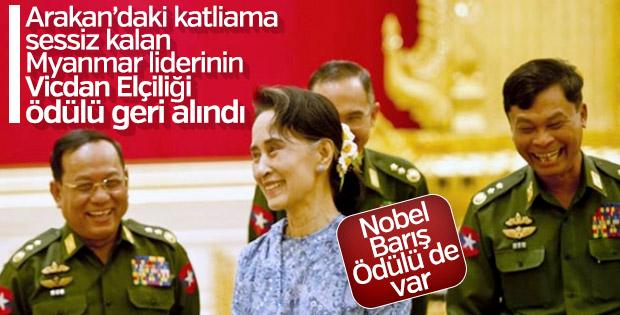 Myanmar lideri Suu Çii'nin Vicdan Elçiliği ödülü alındı