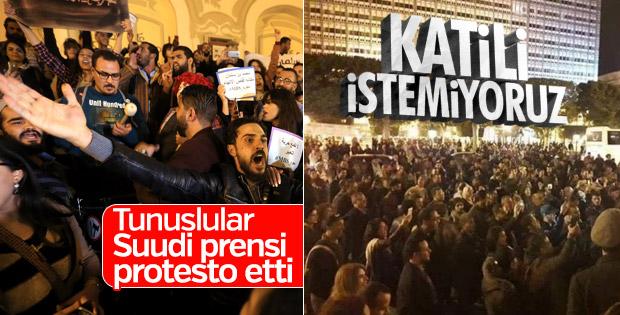 Suudi Arabistan Veliaht Prensi Tunus'ta protesto edildi