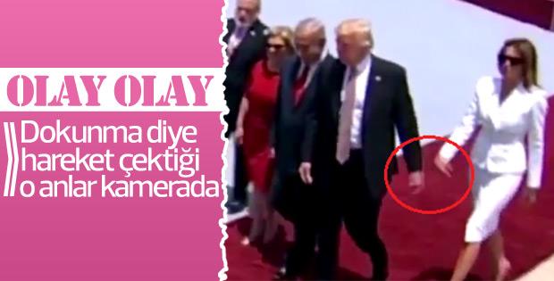 Melania, Donald Trump'ın elini tutmadı