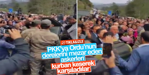 Ordu'da 6 teröristi öldüren askerler kutlamayla karşılandı