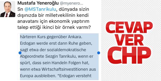 Mustafa Yeneroğlu'ndan Sezgin Tanrıkulu'na ibretlik soru