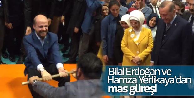 Bilal Erdoğan ve Hamza Yerlikaya mas güreşi yaptı