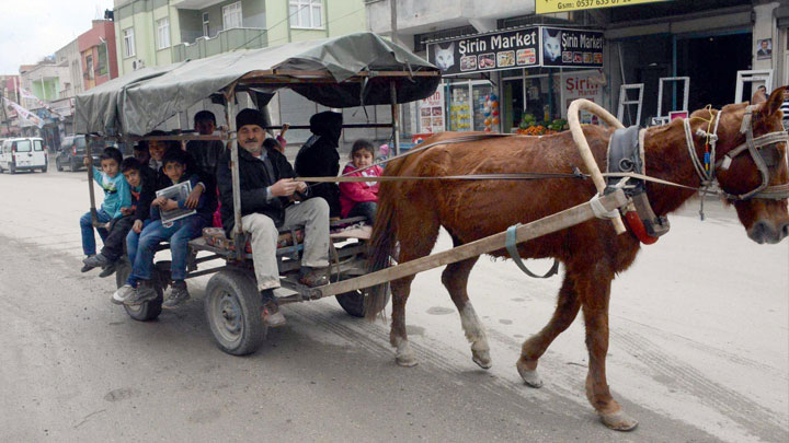 Adana'da öğrenciler at arabasıyla taşınıyor