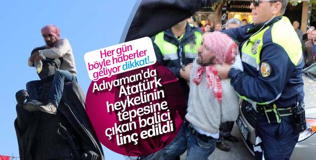 Atatürk heykeline çıkan kişiye linç girişimi