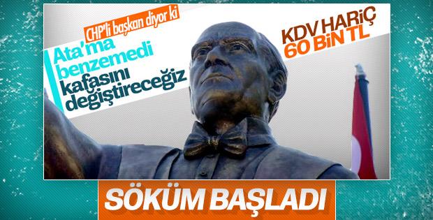 Atatürk'e benzemeyen heykelde düzeltme çalışması