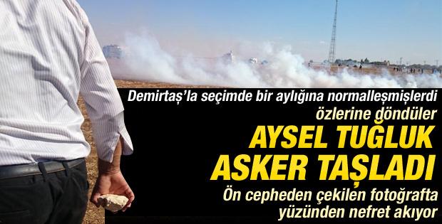 HDP'li Aysel Tuğluk Suruç'ta asker taşladı