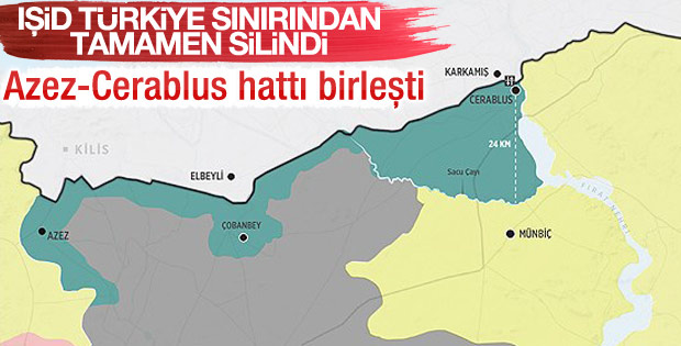 IŞİD Türkiye sınırından tamamen temizlendi