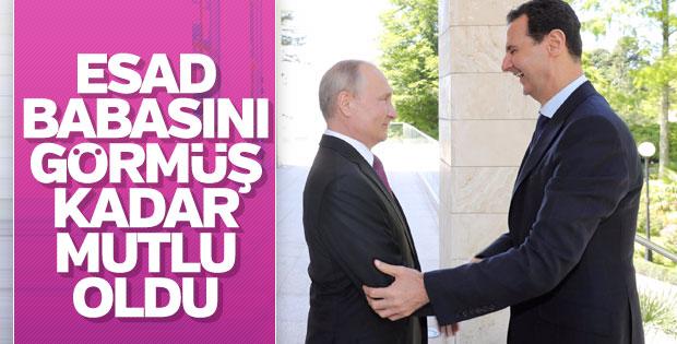 Putin'i gören Esad'ın mutluluğu yüzüne vurdu