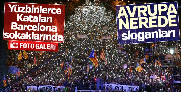 Barselona'da tutuklu Katalan siyasiler için gösteri