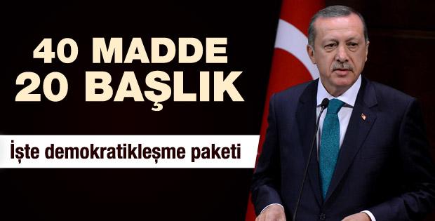 Başbakan Demokratikleşme Paketi'ni açıkladı
