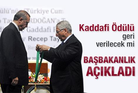 Başbakanlık'tan Kaddafi ödülü açıklaması