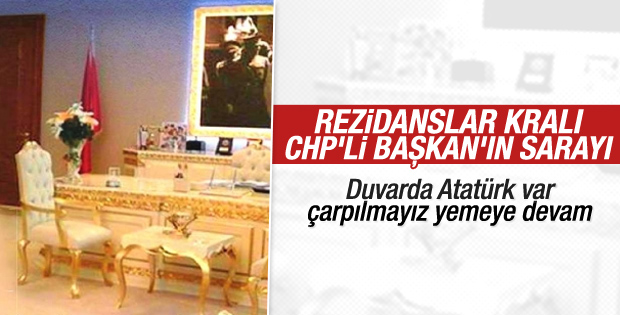CHP'li Başkan'ın sarayları aratmayan makam odası